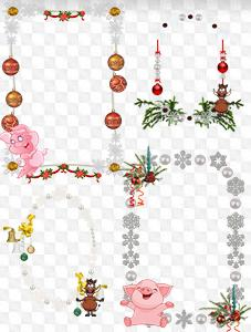psd six png new year clipart frames with pig on transparent background