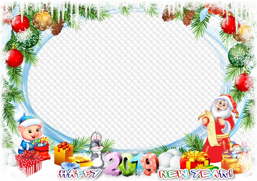 2019 New Year photo frame. Transparent PNG Frame, PSD Layered Photo ...