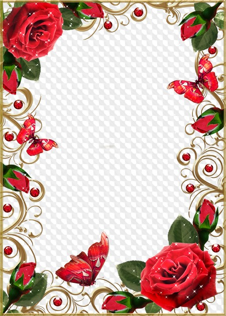 Photo Frame Beautiful Red Roses And Rubies In Gold Transparent