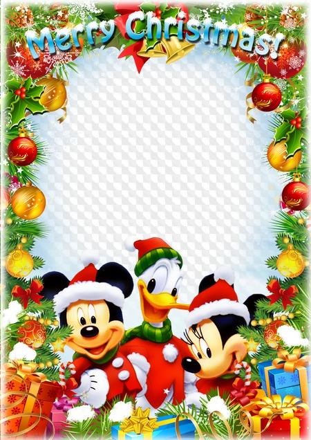 Merry Christmas Disney.Greeting Children Frame Merry Christmas With Disney