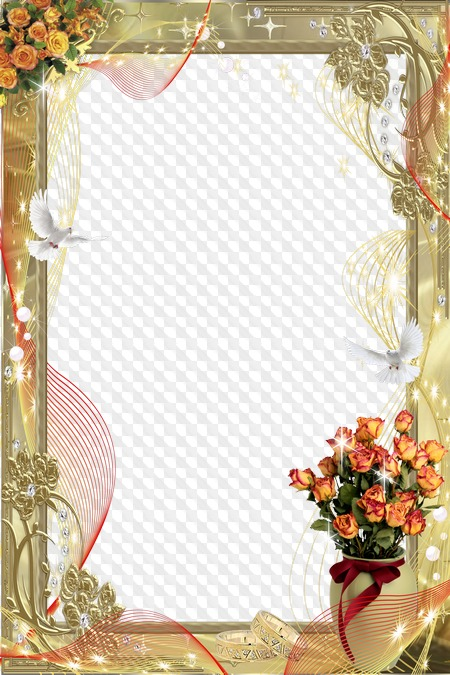 Wedding Gold Frame White Wedding Pigeons Transparent Png Frame