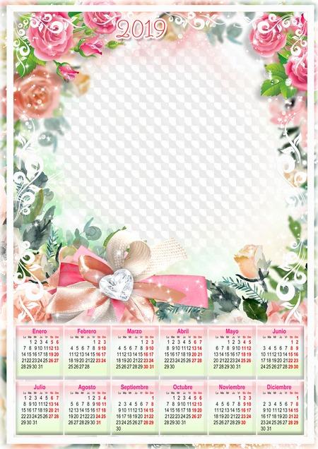 Calendario Rosa Png.Rosas Rojas Calendario Romantico 2019 Psd Png Calendario