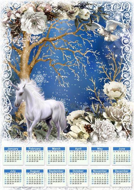 Calendario Bosque Magico 2019.Bosque Romantico Calendario 2019 Con Unicornio Calendario