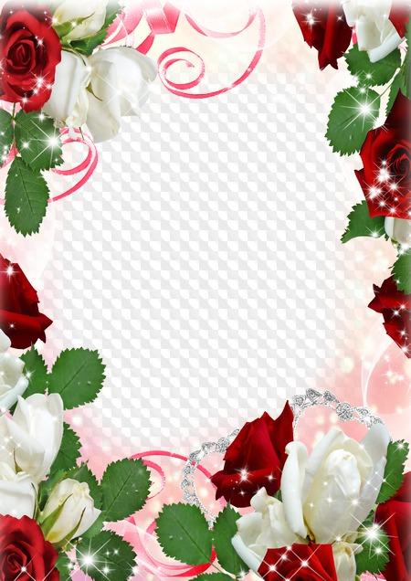 Plantilla De Marco De Foto Floral Blanco Y Rojo De Rosas Psd Png
