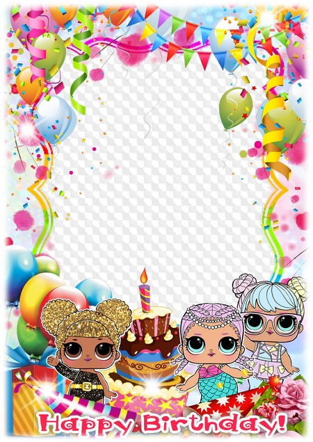 Happy Birthday Baby Photo Frame For Girls Transparent Png Frame