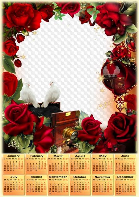 Calendario Rosa Png.Ingles Rosas Y Palomas Calendario 2019 Marco De Fotos Png
