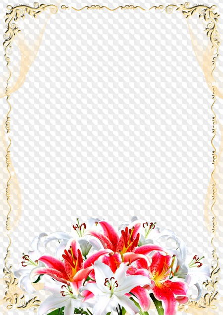 Greeting Photo Frame With White And Pink Lilies Happy Anniversary
