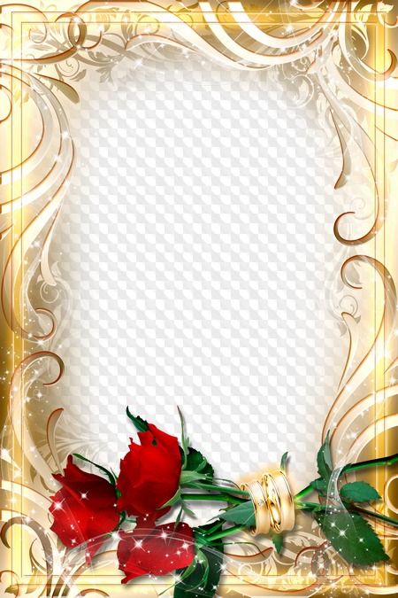Wedding Frame Roses In Rings Free Frame Psd Transparent Png Frame Psd Layered Photo Frame Template Download