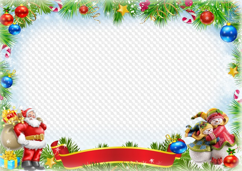 Template Christmas Frame Psd With Santa Claus For Kindergarten