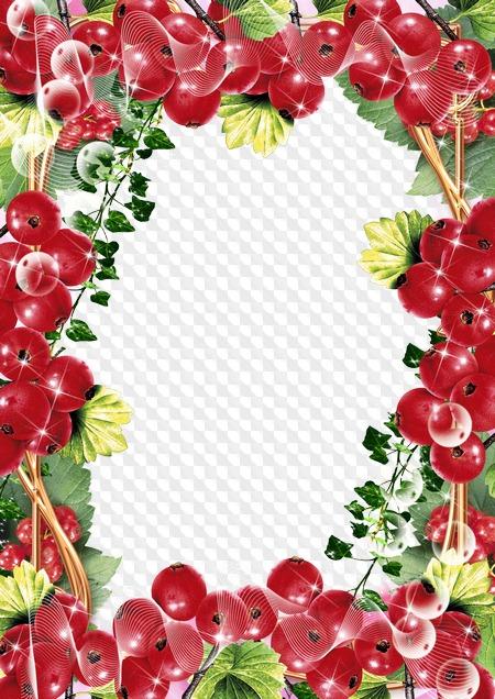 Самодельные, картинка с ягодами и цветами для текста