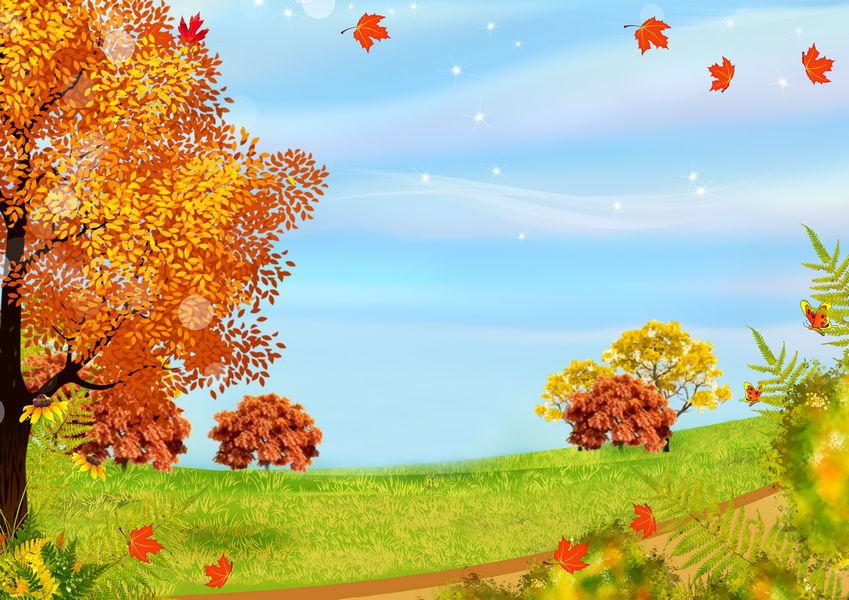 Пожеланиями, осенний пейзаж картинка для детей на прозрачном фоне