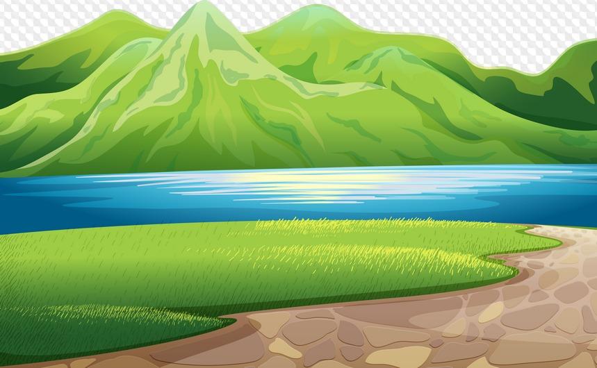Картинка гор и моря для детей