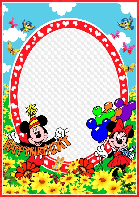 84a7e6121931 Set of frames for children with Disney characters - Happy Birthday ...