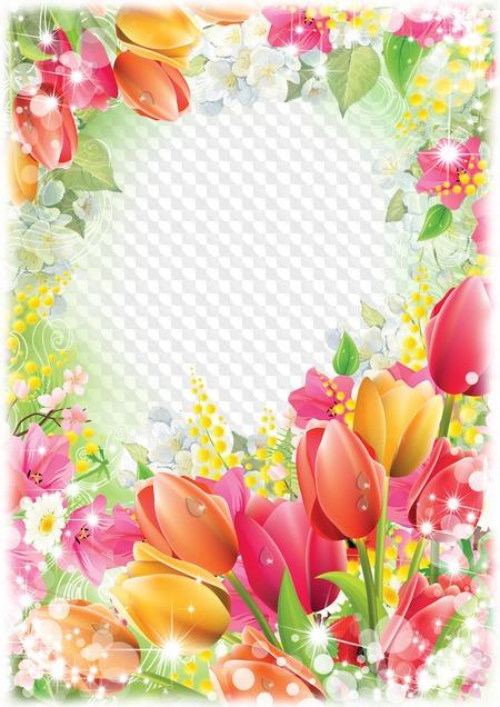 мае фоторамка из цветов с тюльпанами загородную