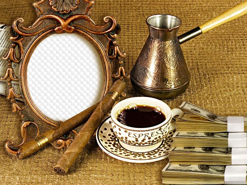вставить фото в рамку с чашечкой кофе говоря, артистка