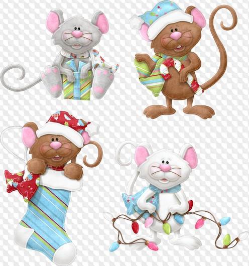 Картинка мышонок новогодний на прозрачном фоне