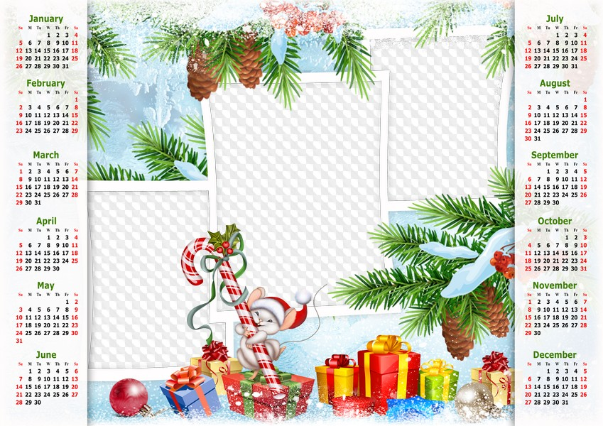 Christmas Calendar 2020 Png Calendar with Mouse and Christmas Gifts 2020, PNG, PSD. Calendar