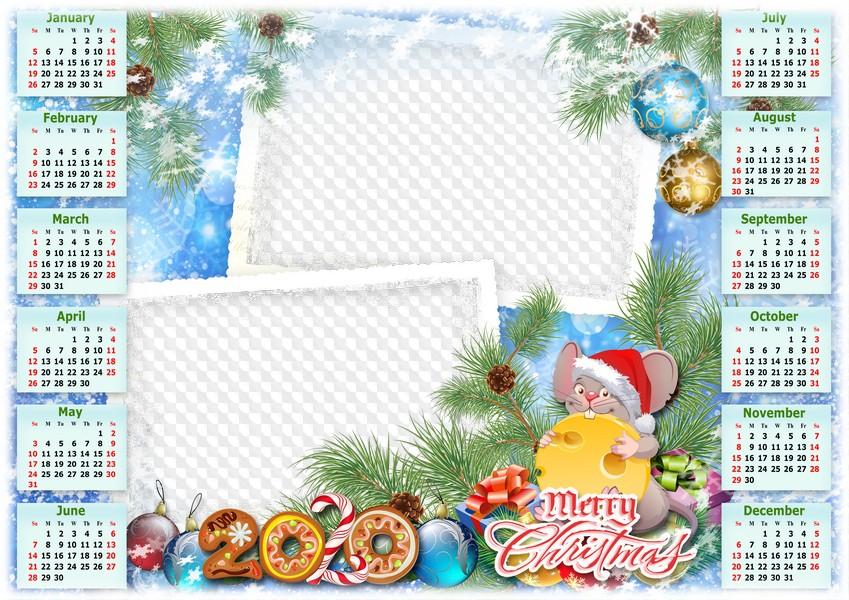 The Christmas Calendar 2020 Merry Xmas, Calendar 2020. Calendar for Photoshop.