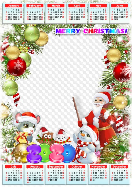 When Is Christmas Calender 2020 Merry Christmas! calendar with mouse, 2020, snowman and Santa