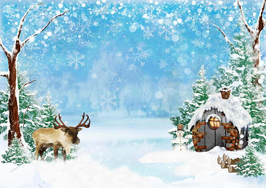 шаблоны к новому году зимний сказочный лес полезных