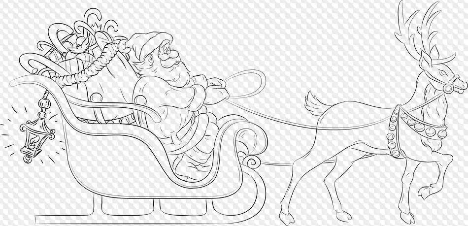 Дед мороз на санках рисунок люди