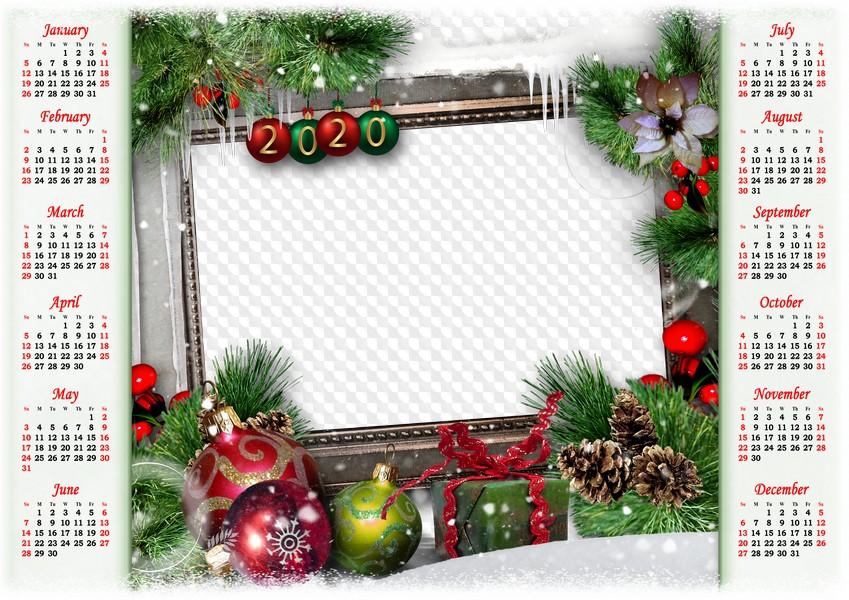Christmas 2020 Frame Png Christmas balls and gift, 2020 Calendar PSD, PNG, photo frame