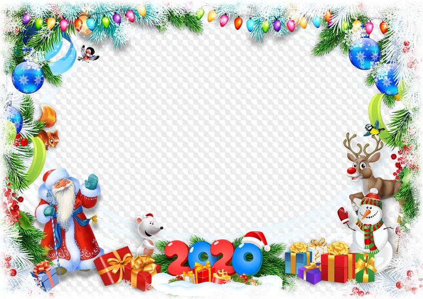 Christmas 2020 Frame Png PSD, PNG, White rat, Santa, snowman and deer, photo frame 2020