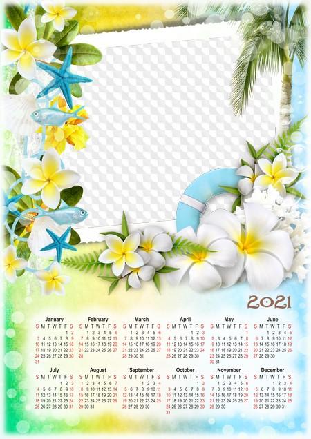 PSD, PNG, Sea tour, Calendar 2021 with photo frame. Calendar for