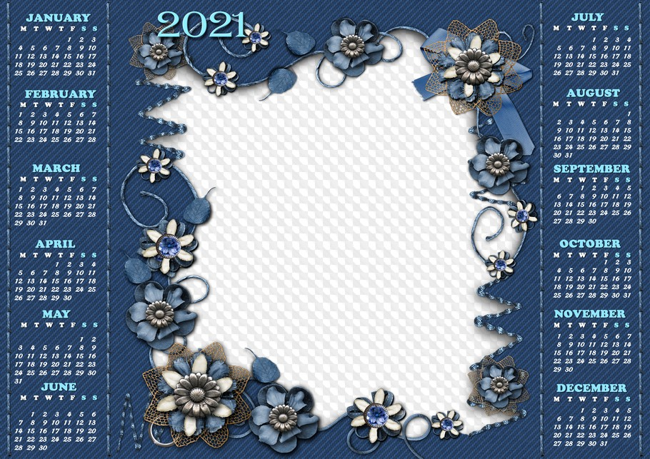 PSD, PNG, Jeans style, 2021 calendar photo frame. Calendar ...