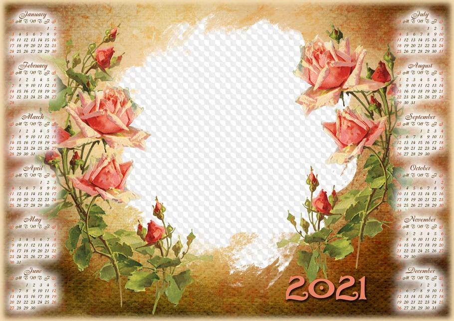 PSD, PNG, Vintage calendar 2021 frame for Photoshop. Calendar for