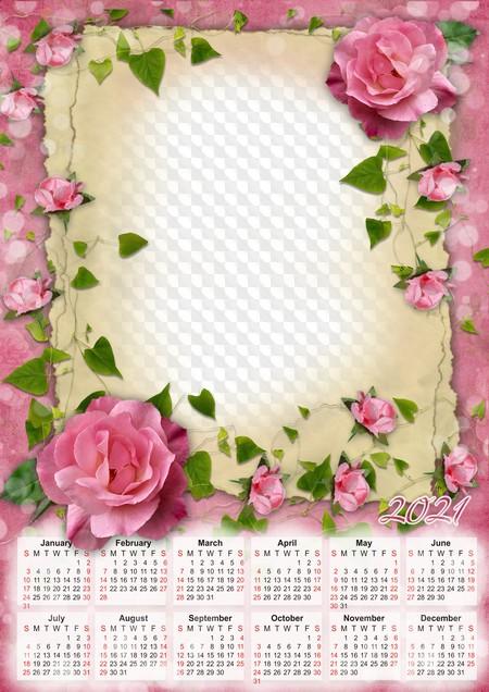 PSD, PNG, 2021 calendar photo frame with roses. Calendar for