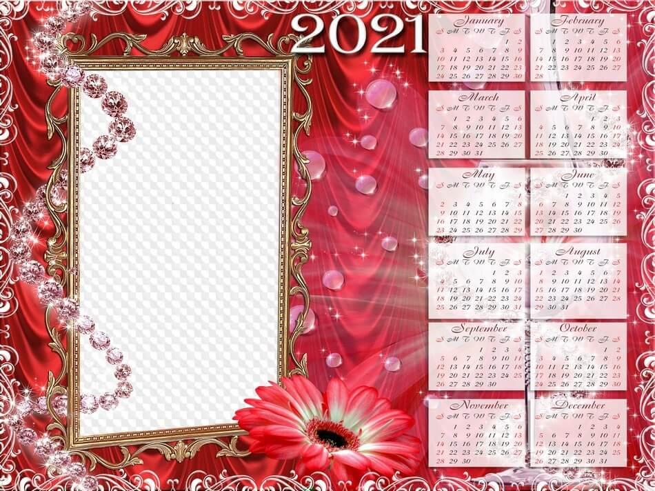 PSD, PNG, Red flowers, calendar 2021 photo frame. Calendrier pour