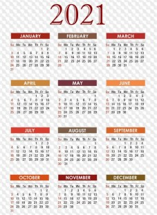 Calendar grids in PNG and PSD formats