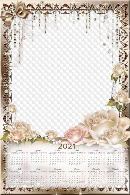 Calendrier des fleurs 2021 avec roses, cadre photo, psd, png