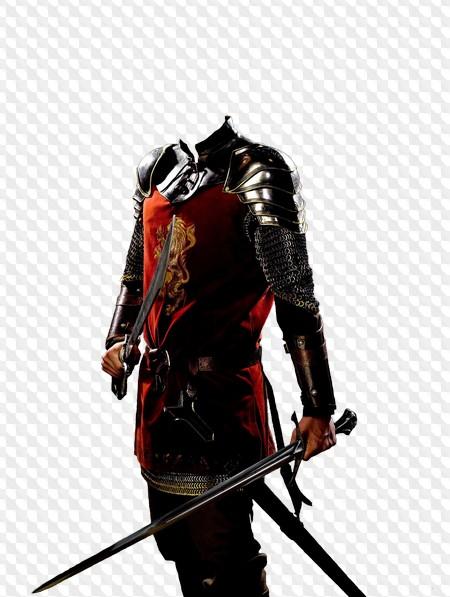 Chevalier en armure avec deux épées, modèle psd, png