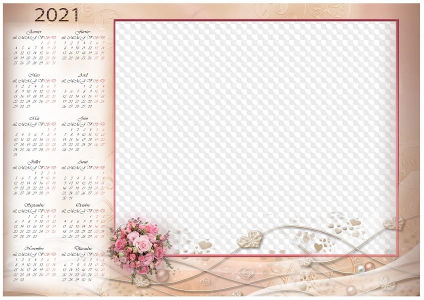 Calendrier horizontal 2021 PSD, PNG, beige avec bouquet, cadre