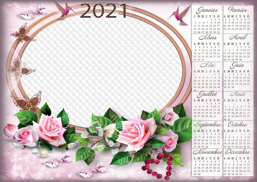 Calendrier rose 2021 avec cadre photo horizontal, PSD, PNG