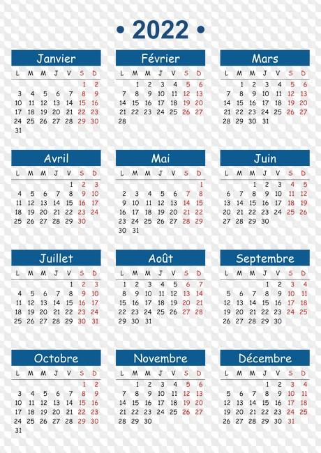 Calendrier De Lannée 2022 Calendrier de lannée 2022, grilles de calendrier aux formats PNG, CDR