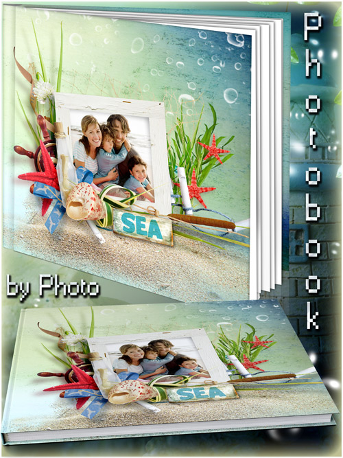 Offshore photo book template psd - Noise turquoise waves
