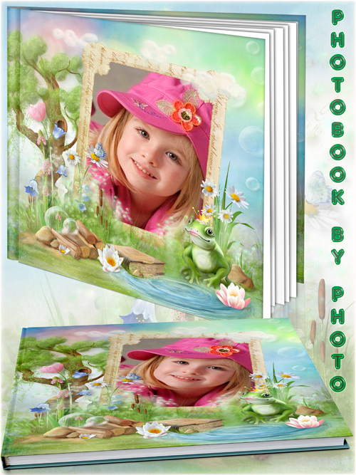 Children fabulous photo book template psd - the Princess and the frog