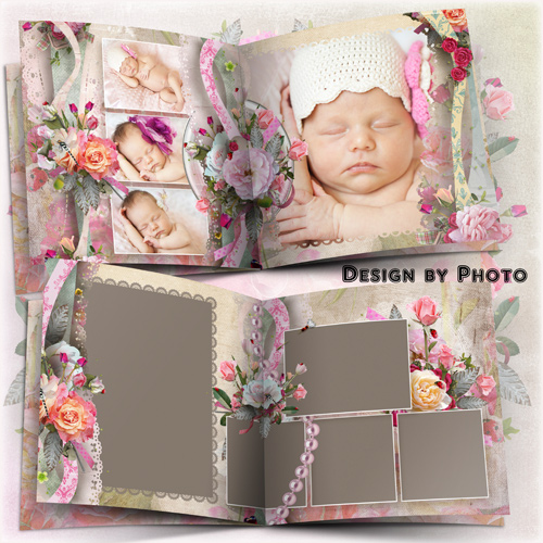 Flower photo book template psd - The ocean of roses