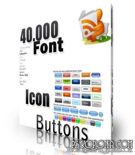 40.000 Collection of Fonts, Icons, Buttons