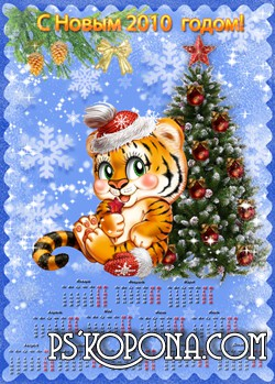 Calendar year tiger: new year's 2010
