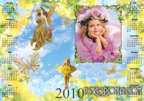 Children's photoframe calendar of 2010