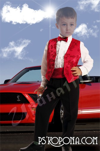 Children's template for photoshop - the Boy in the car