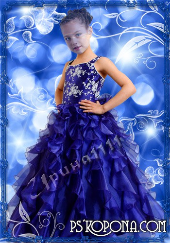 Children's template for photoshop - Girl in blue dress