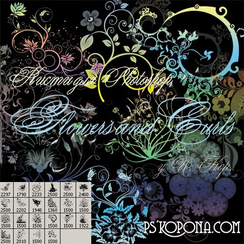 ABR  Brushes for photoshop Flowers and swirls free download