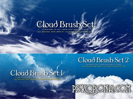 Clouds Photoshop Brushes (3 Sets) ABR download