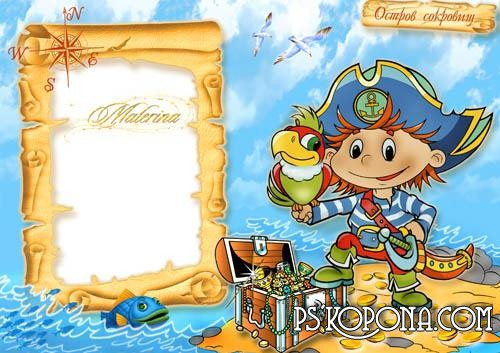 Children's frame PNG for photo free download - a Island treasure