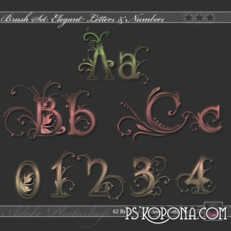 Brushes for photoshop ABR  Elegant letters and numbers download